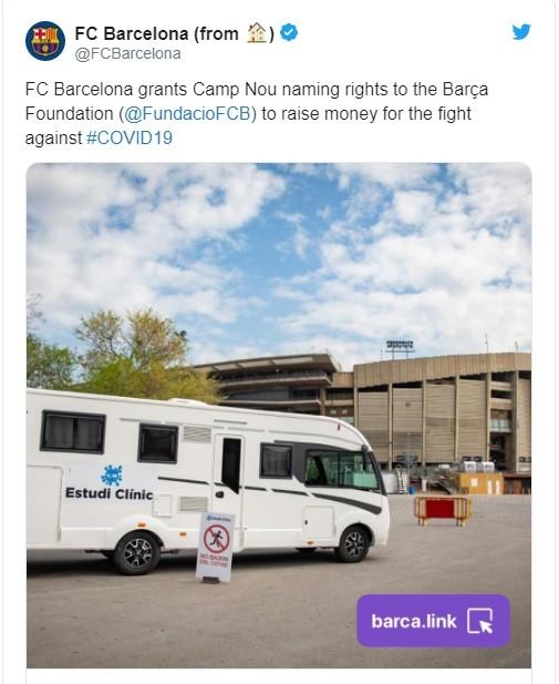 Barca sẽ bán tên sân Camp Nou để gây quỹ chống Covid-19 ảnh 1