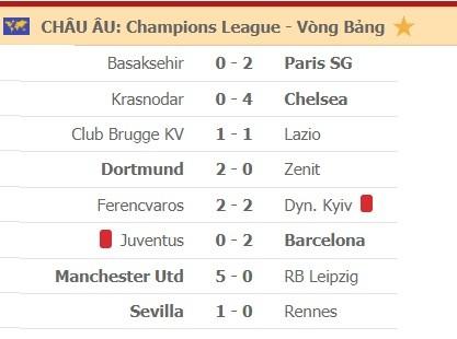 Kết quả Champions League ngày 29-10: Man United, Chelsea và Barca thắng lớn ảnh 1