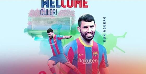 Hình ảnh Kun Aguero đăng trên website chính thức của Barcelona