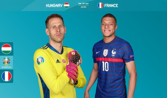 Thủ thành Gulacsi (Hungary) và Kylian Mbappe (Pháp)