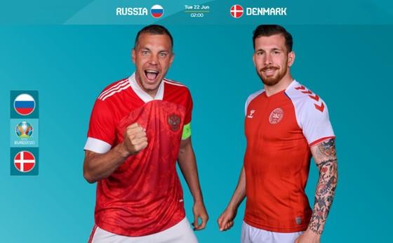 Artyom Dzyuba (Nga) và Hojbjerg (Đan Mạch)