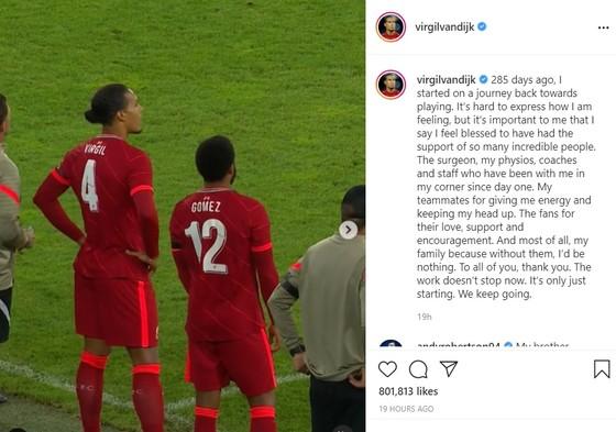 Van Dijk viết thông điệp đầy cảm xúc khi trở lại Liverpool sau chấn thương ảnh 1
