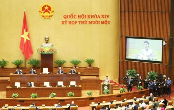 Chủ tịch Quốc hội Nguyễn Thị Kim Ngân phát biểu khai mạc kỳ họp cuối cùng của Quốc hội khoá XIV, sáng 24-3-2021