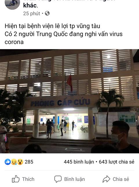 Vũng Tàu: Phát hiện người tung tin không chính xác về dịch cúm virus corona ảnh 1