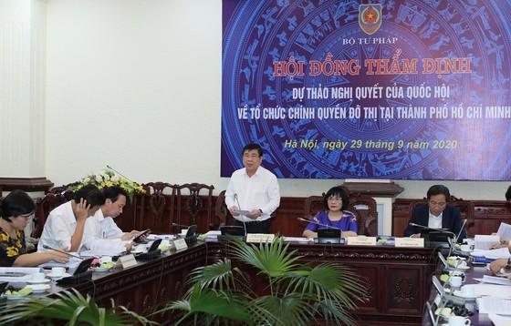 Hội đồng thẩm định Bộ Tư pháp thống nhất các nội dung dự thảo Nghị quyết về tổ chức chính quyền đô thị tại TPHCM ảnh 1