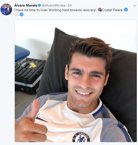 Morata và hình ảnh đầy lạc quan trên Twitter