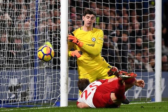 Courtois trong trận Chelsea thua MU 1-2