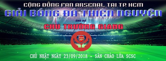 Băn rôn giải đấu thiện nguyện ủng hộ anh Chu Trường Giang ở TPHCM
