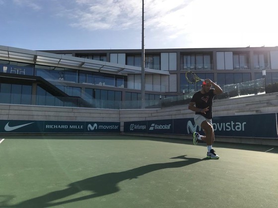 Rafael Nadal trong buổi tập mới đây
