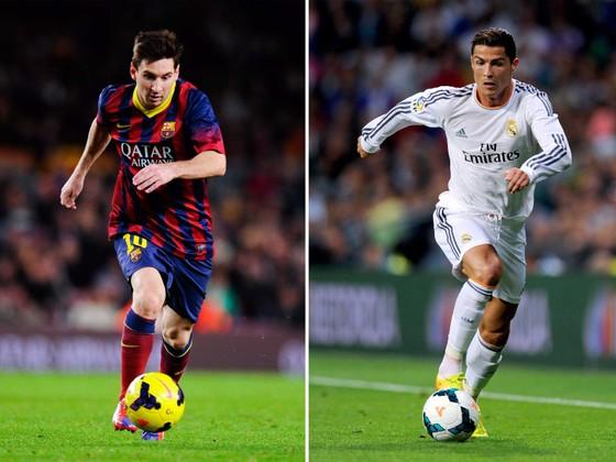 Lionel Messi và Cristiano Ronaldo trong cuộc chiến El Clasico. Ảnh Getty Images.