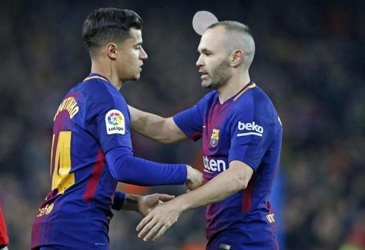 Philippe Coutinho sẽ cô`1 gắng lấp vào khoảng trống mà Iniesta để lại