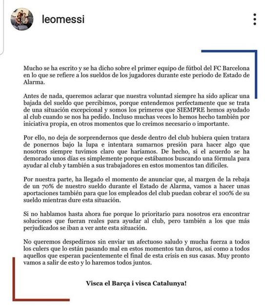 Lionel Messi lên tiếng: Cầu thủ Barca sẵn lòng cắt giảm 70% lương và hỗ trợ ngưởi lao động  ảnh 1