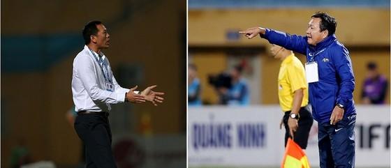 HLV Đức Thắng (SLNA) và Hoàng Văn Phúc (QNK Quảng Nam) sẽ cùng đấu trí trên SVĐ Hàng Đẫy để tranh siêu cúp bóng đá Việt Nam năm nay. Ảnh: NGỌC HẢI-MINH HOÀNG
