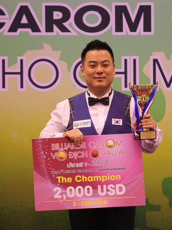 Giải Billiard Carom vô địch Châu Á 2018:  Cơ thủ xứ Kim Chi lên ngôi nội dung carom ba băng  ảnh 1