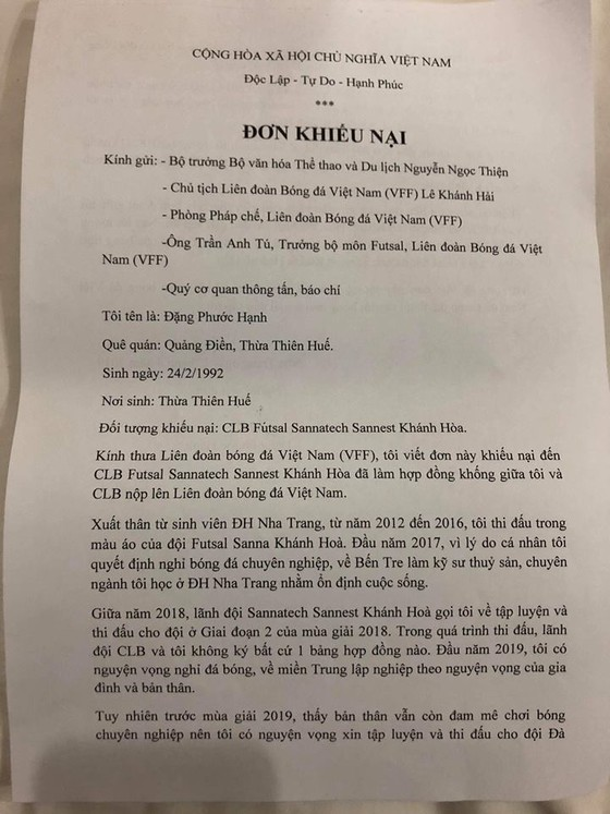 CLB futsal Sanatech Khánh Hòa bị cầu thủ nộp đơn khiếu nại lên VFF ảnh 1