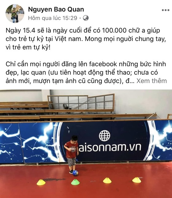 HLV Nguyễn Bảo Quân chia sẻ thông điệp trên trang cá nhân