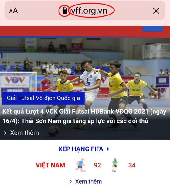 Xuất hiện website mạo danh tại giải Futsal HDBank VĐQG 2021 nhằm mục đích xấu ảnh 1