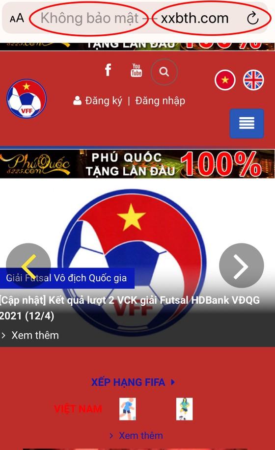 Xuất hiện website mạo danh tại giải Futsal HDBank VĐQG 2021 nhằm mục đích xấu ảnh 2