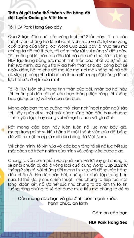 HLV Park Hang-seo viết thư động viên các cộng sự và học trò  ảnh 2