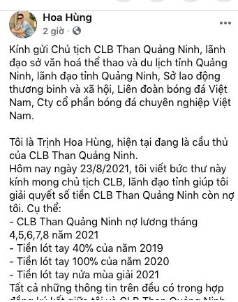 Cầu thủ Than Quảng Ninh tiếp tục… đòi nợ ảnh 1