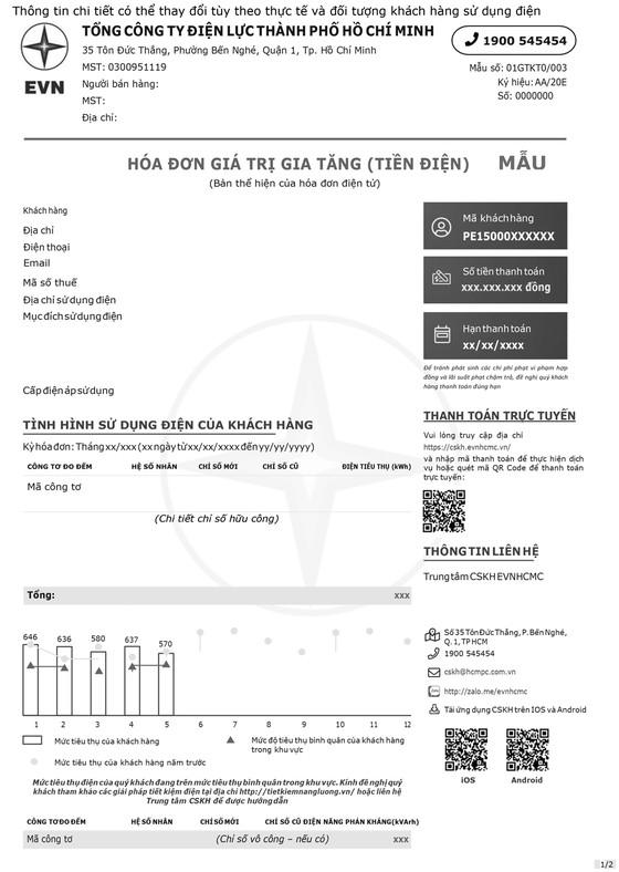 Thông báo: Áp dụng mẫu hóa đơn tiền điện mới ảnh 1