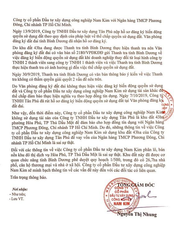 Công ty Nam Kim nói gì về việc thế chấp khu đất 43ha khu đô thị thương mại, dịch vụ Tân Phú? ảnh 1