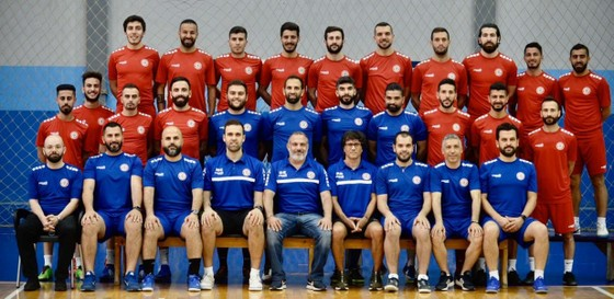 Đội hình của đội tuyển futsal Lebanon chuẩn bị cho vòng play-off World Cup 2021. Ảnh: LFA
