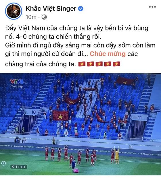 Giới nghệ sĩ thức khuya ăn mừng chiến thắng của tuyển Việt Nam ảnh 2