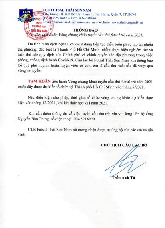 Thái Sơn Nam hoãn vòng chung kết tuyển sinh đến tháng 12 ảnh 1