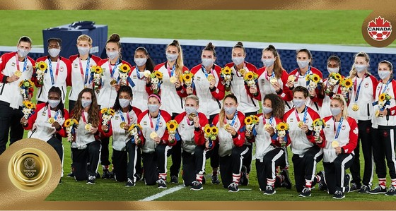 Canada đoạt tấm HCV môn bóng đá nữ Olympic Tokyo 2020. Ảnh: AP