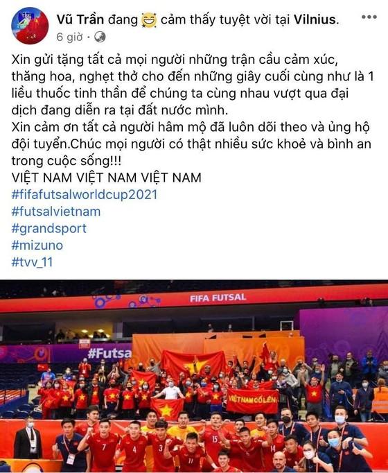 Các tuyển thủ futsal Việt Nam đồng loạt gửi lời cảm ơn đến người hâm mộ ảnh 2