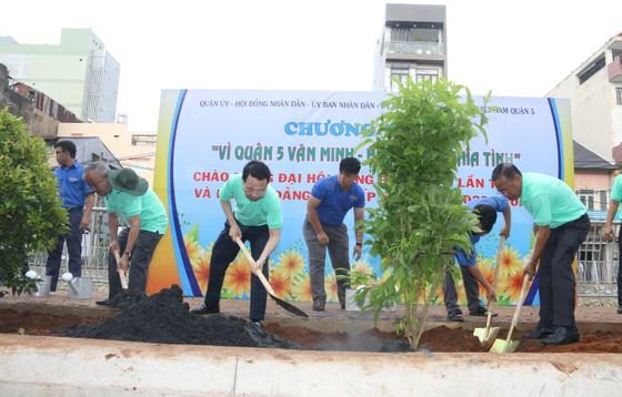 Quận 5 ra quân dọn vệ sinh, trồng cây, tặng cây cho người dân ảnh 2