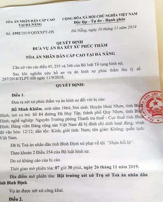 Vụ cựu cán bộ Cục Thuế Bình Định nhận hối lộ: Tòa phúc thẩm triệu tập bổ sung 10 điều tra viên ảnh 2