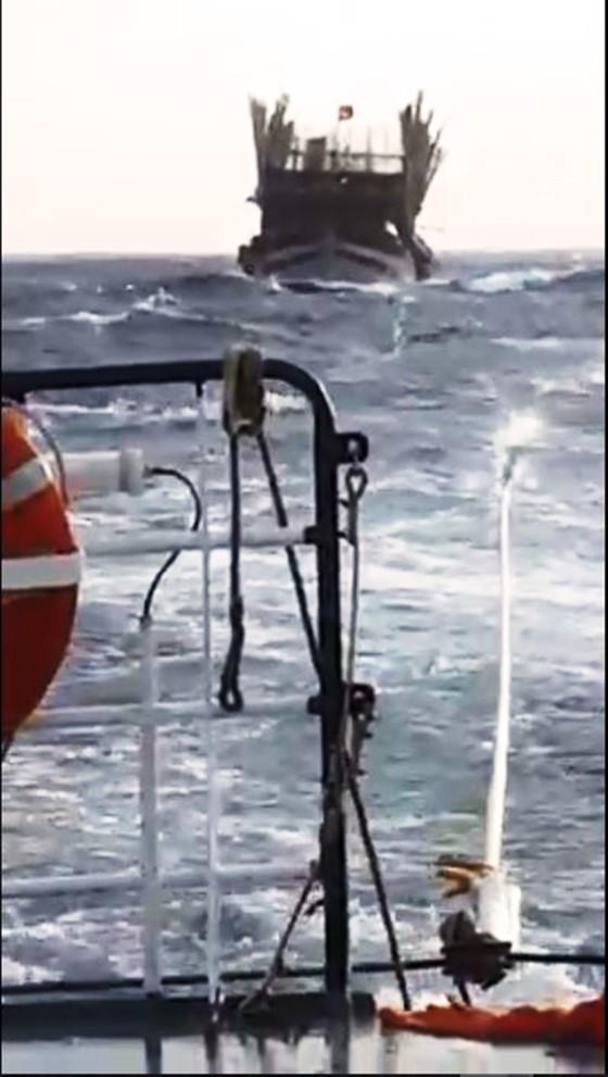 Cận cảnh tàu SAR vượt sóng dữ cứu 40 thuyền viên đang câu mực  ảnh 6