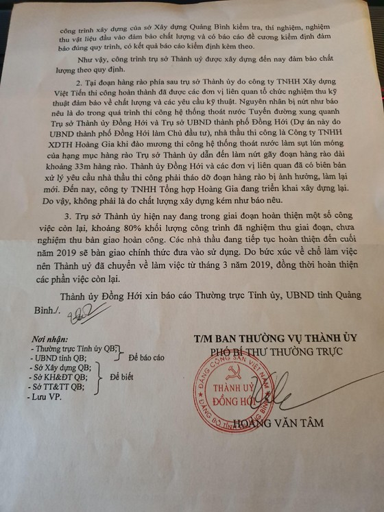 Bí thư Tỉnh ủy Quảng Bình yêu cầu báo cáo vụ tòa nhà Thành ủy Đồng Hới bị nứt ảnh 4