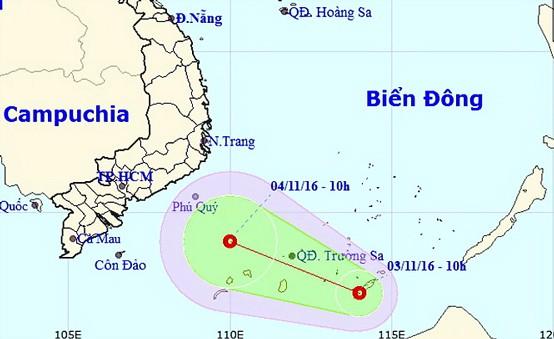Áp thấp nhiệt đới hướng về ngoài khơi Bình Thuận ảnh 1