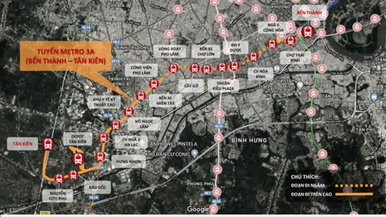 TPHCM đề xuất xây dựng tuyến đường sắt đô thị số 3A (Bến Thành - Tân Kiên)   ảnh 1