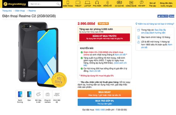 Realme C2 phiên bản nâng cấp được bán độc quyền với mức giá 2,99 triệu đồng  ảnh 1