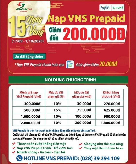 Vinasun Taxi: Nạp VNS Prepaid giảm đến 200.000 đồng  ảnh 2
