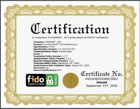 Hệ điều hành VOS trên điện thoại Vsmart đã đạt chứng chỉ FIDO2  ảnh 1
