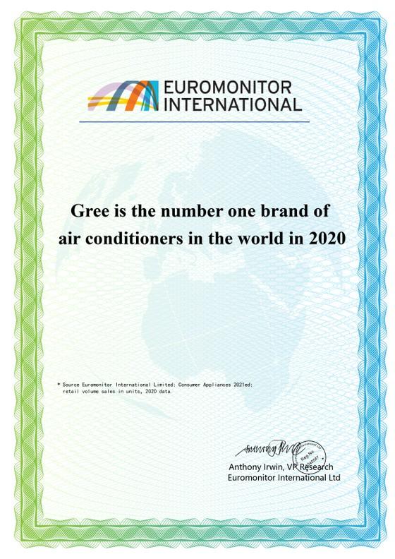 """GREE được bình chọn là """"Thương hiệu điều hoà số 1 thế giới năm 2020"""" ảnh 1"""