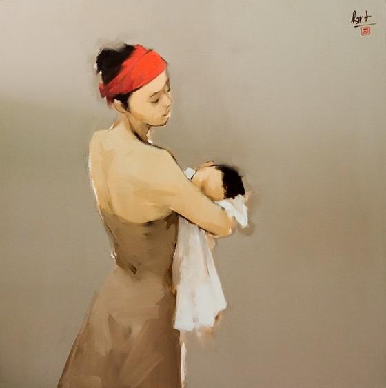 Ấm áp đến tan chảy với những bức họa Mẹ và con của Nguyễn Thanh Bình ảnh 1