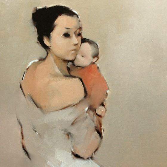 Ấm áp đến tan chảy với những bức họa Mẹ và con của Nguyễn Thanh Bình ảnh 2