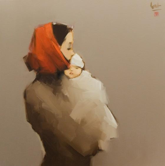Ấm áp đến tan chảy với những bức họa Mẹ và con của Nguyễn Thanh Bình ảnh 3