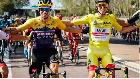 Primoz Roglic (trái) và Pogacar là hai ứng viên cho Tour de France