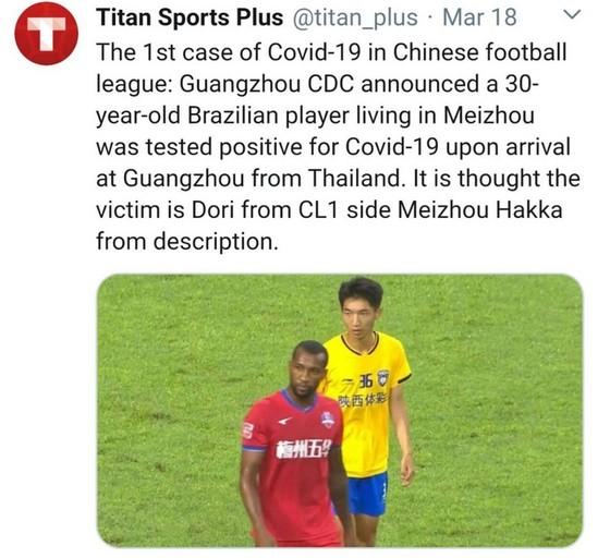 Cầu thủ Trung Quốc đầu tiên nhiễm Covid-19, CLB Thái Lan cũng bị vạ lây ảnh 1
