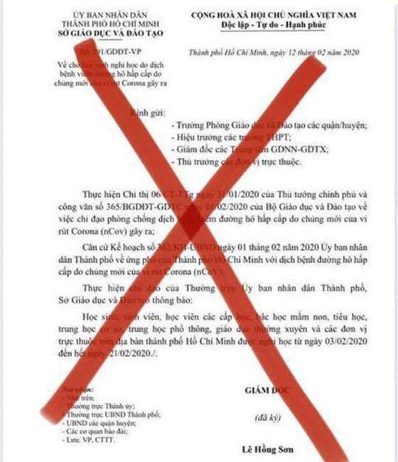 TPHCM: Lan truyền văn bản giả mạo của Sở GD-ĐT TPHCM về thời gian học sinh đi học trở lại  ảnh 1