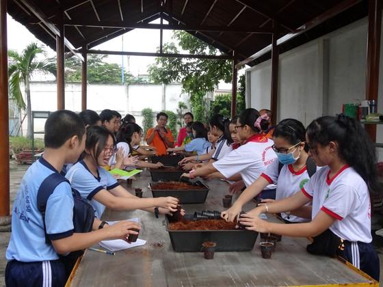 """Học sinh hào hứng trải nghiệm trồng rau, chăm sóc thú qua Cuộc thi """"Văn hay chữ tốt"""" do quận Tân Bình tổ chức  ảnh 2"""