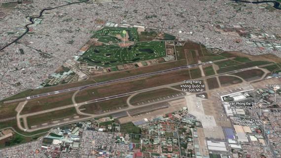 Khu vực sân bay Tân Sơn Nhất nhìn từ vệ tinh. Ảnh: Google Map