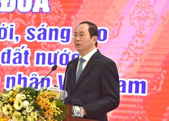Chủ tịch nước Trần Đại Quang phát biểu tại lễ phát động thi đua